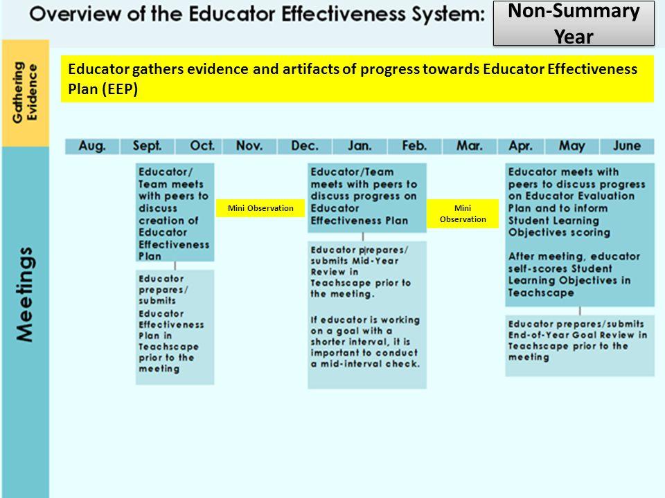 Non-Summary Year Educator gathers evidence and artifacts of progress towards Educator Effectiveness Plan (EEP)