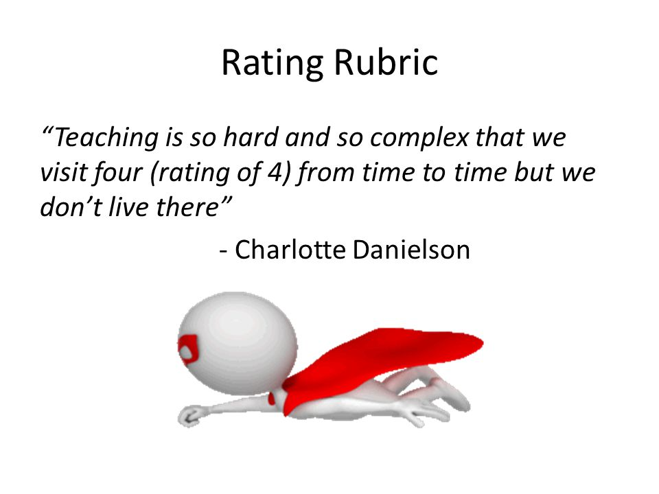 Rating Rubric Teaching is so hard and so complex that we visit four (rating of 4) from time to time but we don't live there
