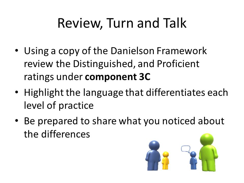 Review, Turn and Talk Using a copy of the Danielson Framework review the Distinguished, and Proficient ratings under component 3C.