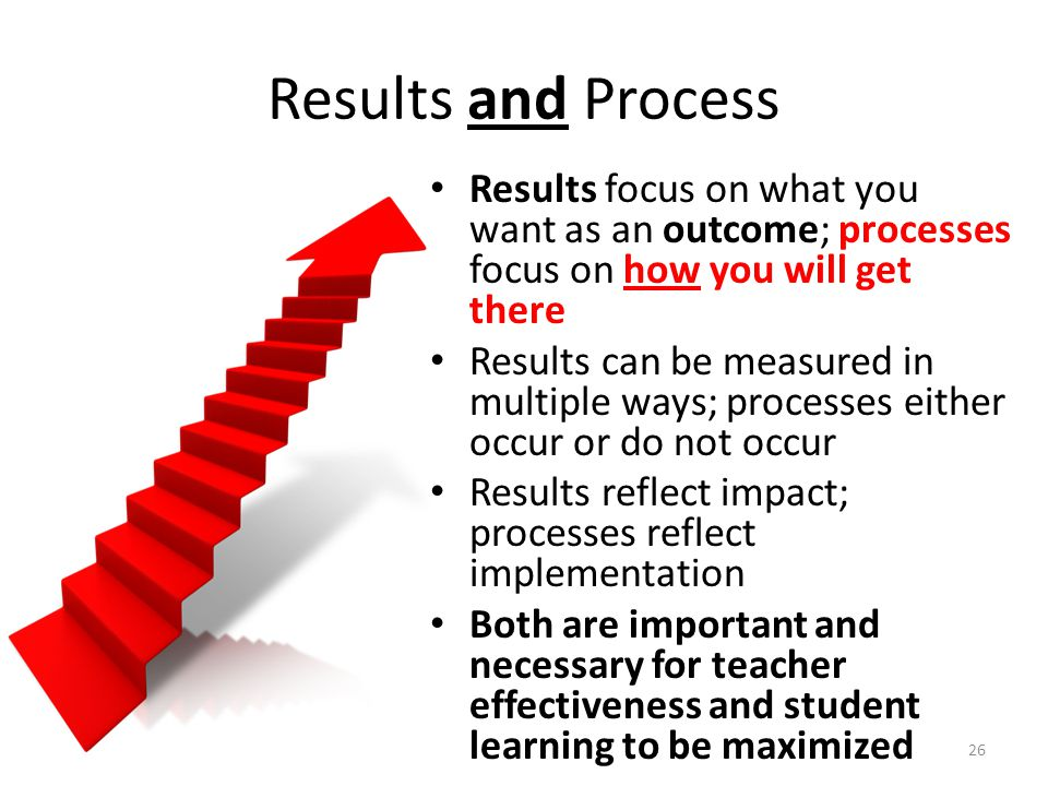 Results and Process Results focus on what you want as an outcome; processes focus on how you will get there.
