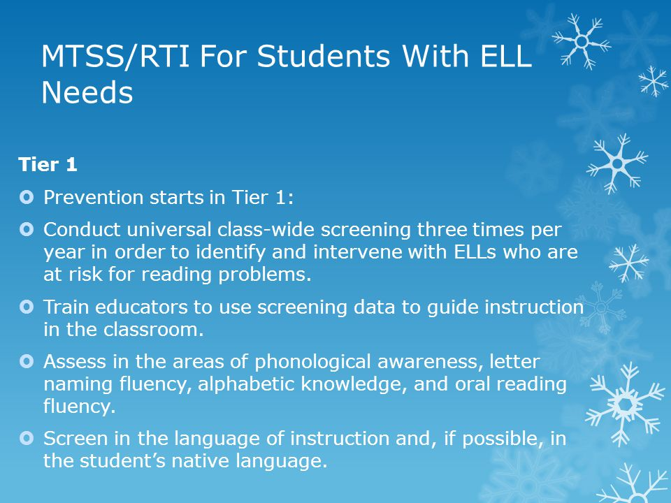 MTSS/RTI For Students With ELL Needs