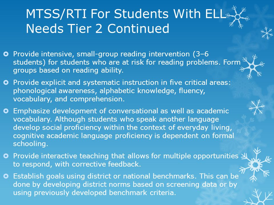 MTSS/RTI For Students With ELL Needs Tier 2 Continued