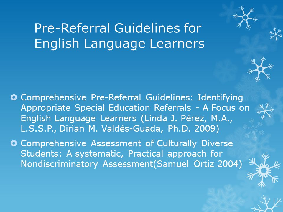 Pre-Referral Guidelines for English Language Learners