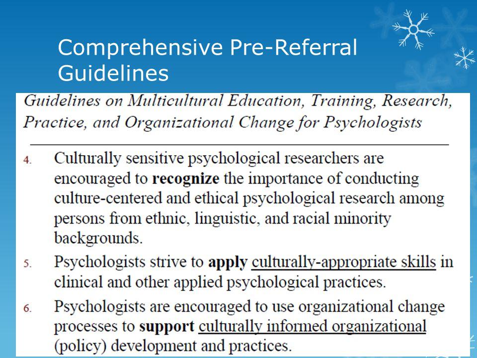 Comprehensive Pre-Referral Guidelines