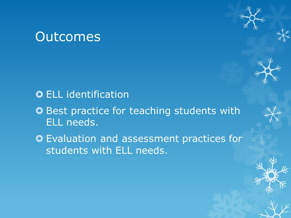 Outcomes ELL identification