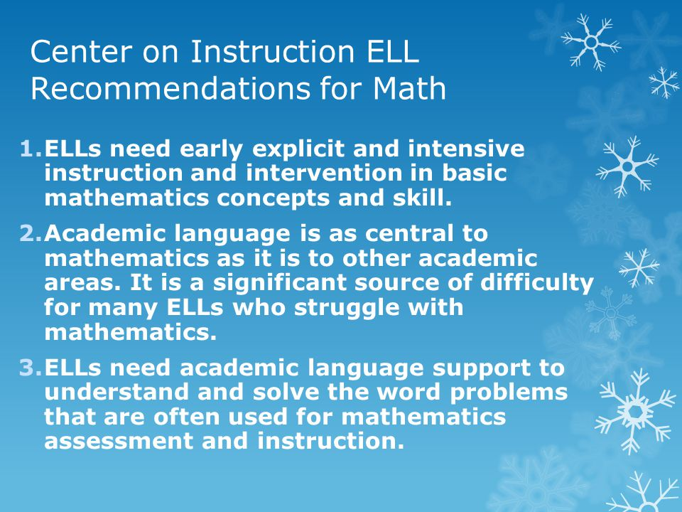 Center on Instruction ELL Recommendations for Math