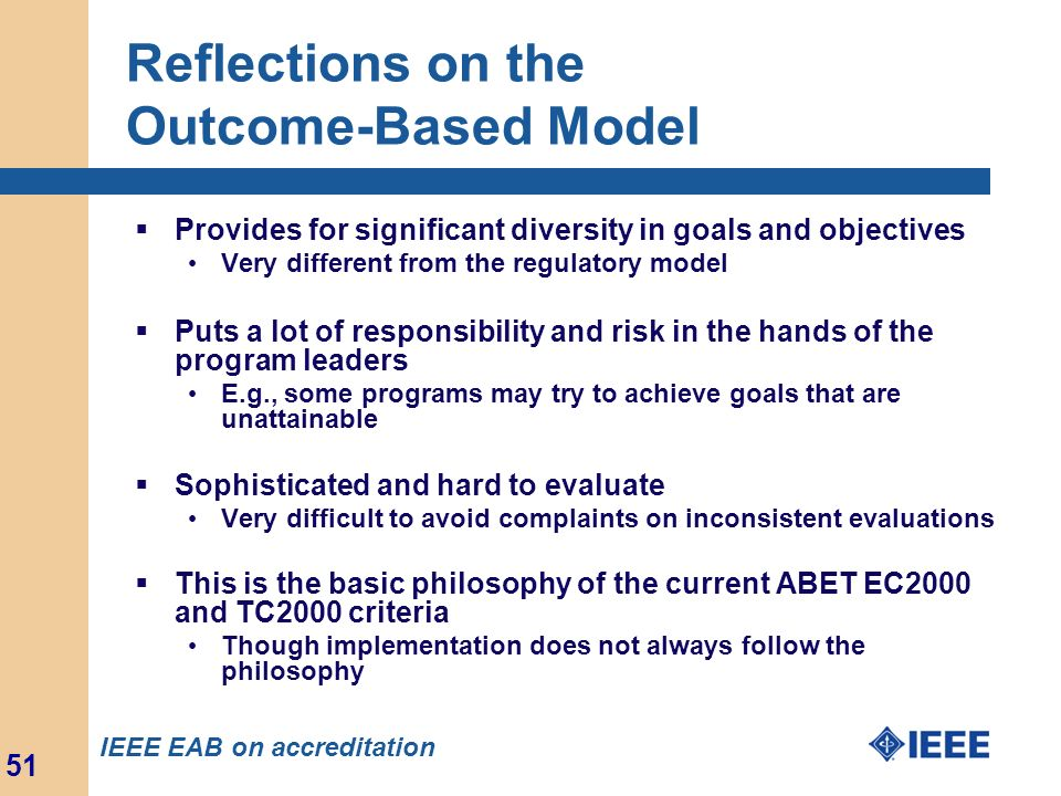 Reflections on the Outcome-Based Model