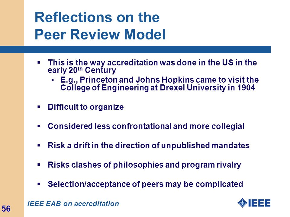 Reflections on the Peer Review Model