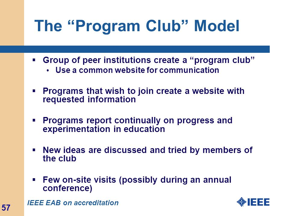 The Program Club Model