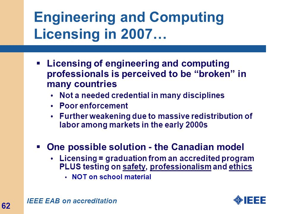 Engineering and Computing Licensing in 2007…