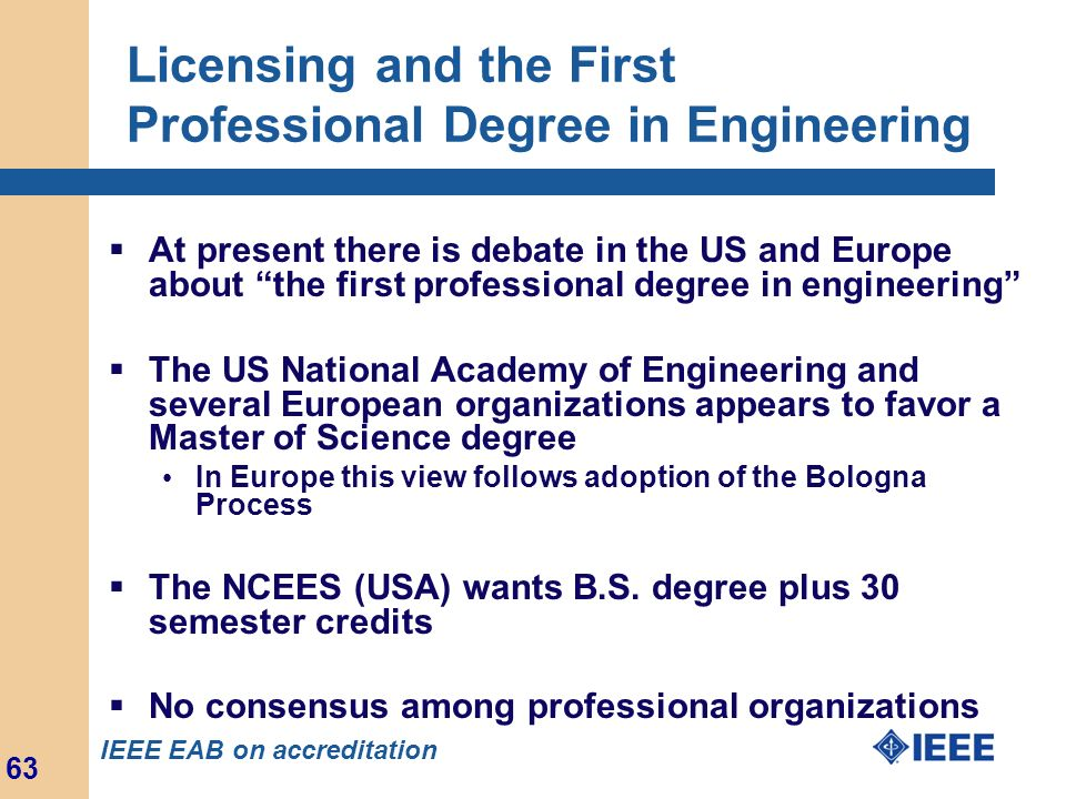 Licensing and the First Professional Degree in Engineering