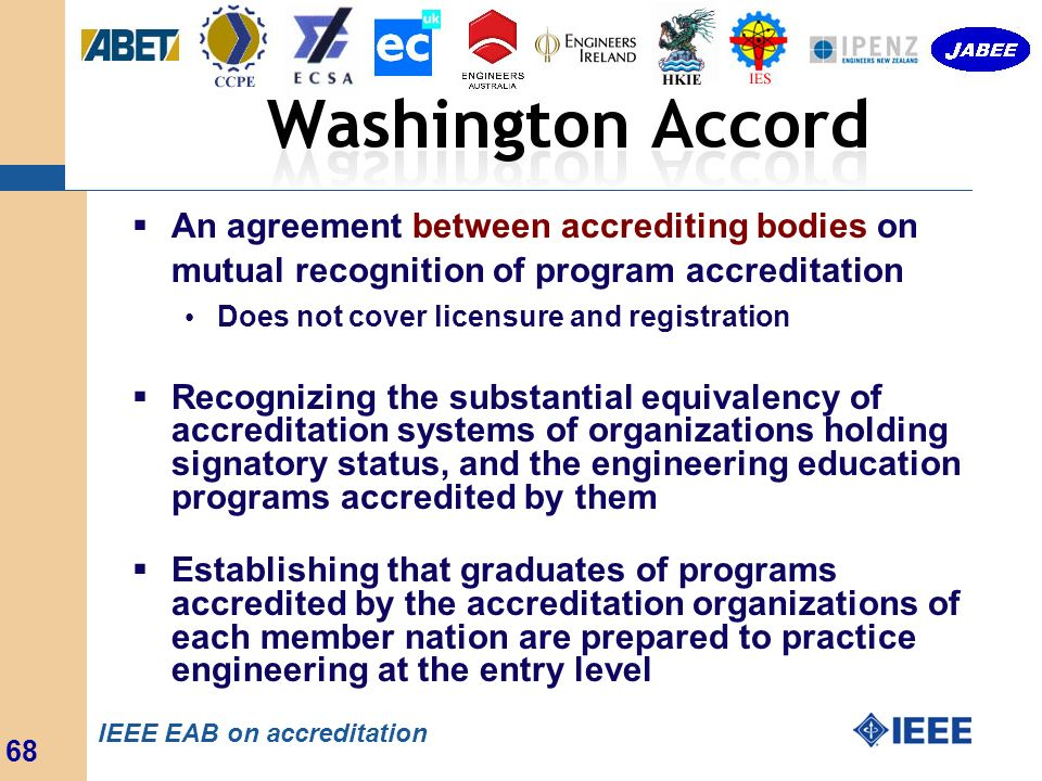 An agreement between accrediting bodies on mutual recognition of program accreditation