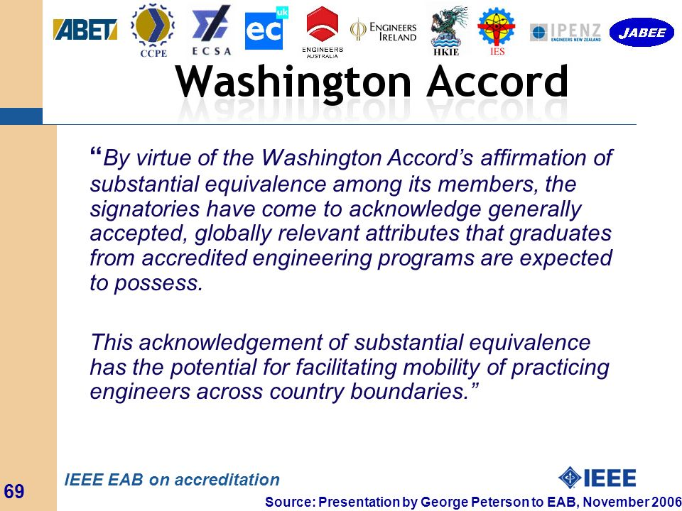 By virtue of the Washington Accord's affirmation of substantial equivalence among its members, the signatories have come to acknowledge generally accepted, globally relevant attributes that graduates from accredited engineering programs are expected to possess.