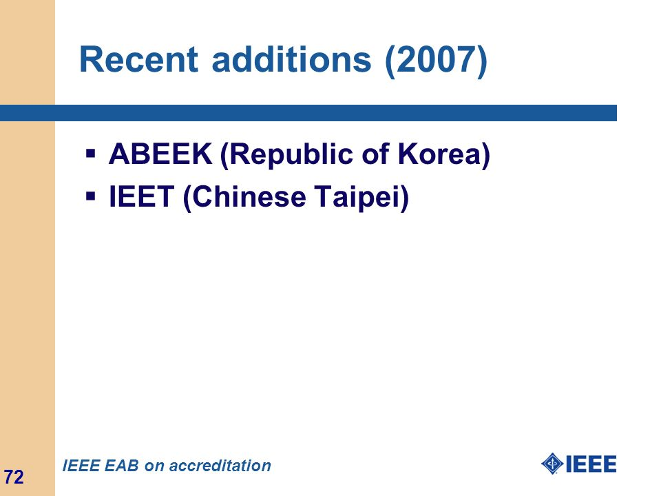 Recent additions (2007) ABEEK (Republic of Korea)