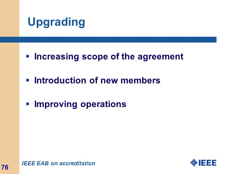 Upgrading Increasing scope of the agreement