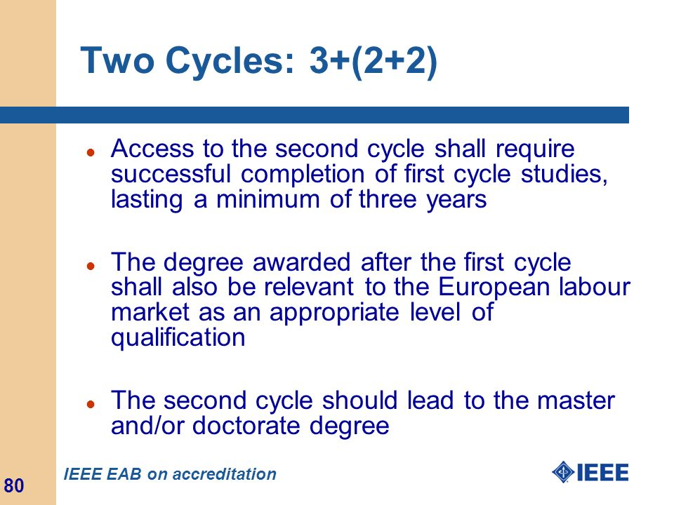 Two Cycles: 3+(2+2) Access to the second cycle shall require successful completion of first cycle studies, lasting a minimum of three years.