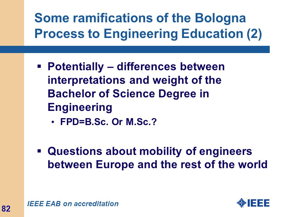 Some ramifications of the Bologna Process to Engineering Education (2)