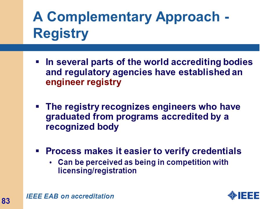 A Complementary Approach - Registry