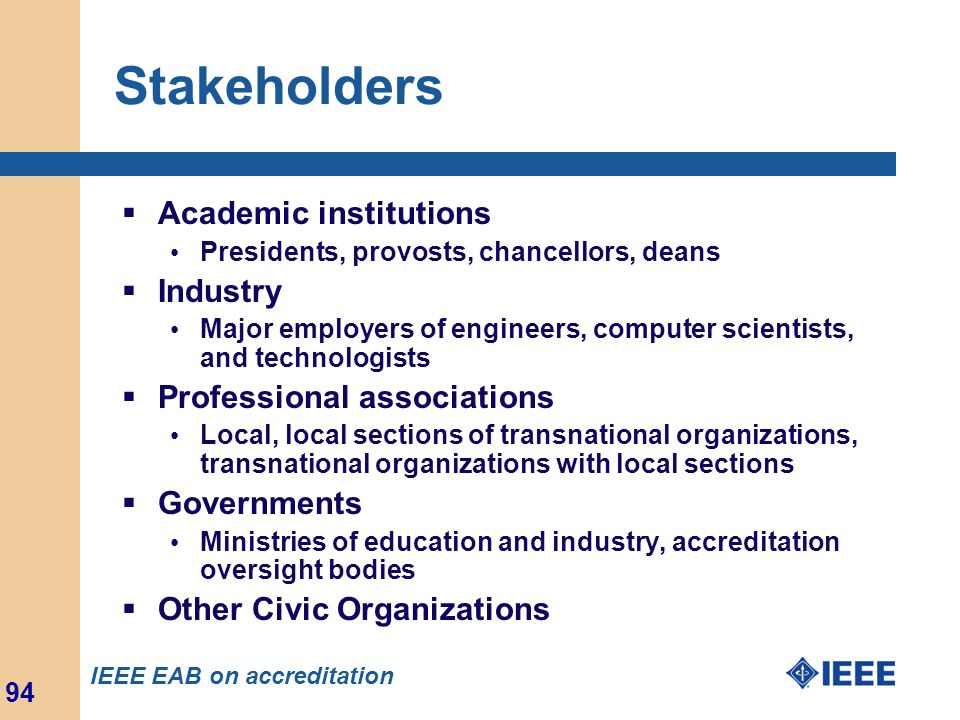 Stakeholders Academic institutions Industry Professional associations