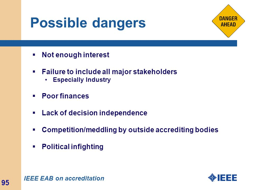 Possible dangers Not enough interest