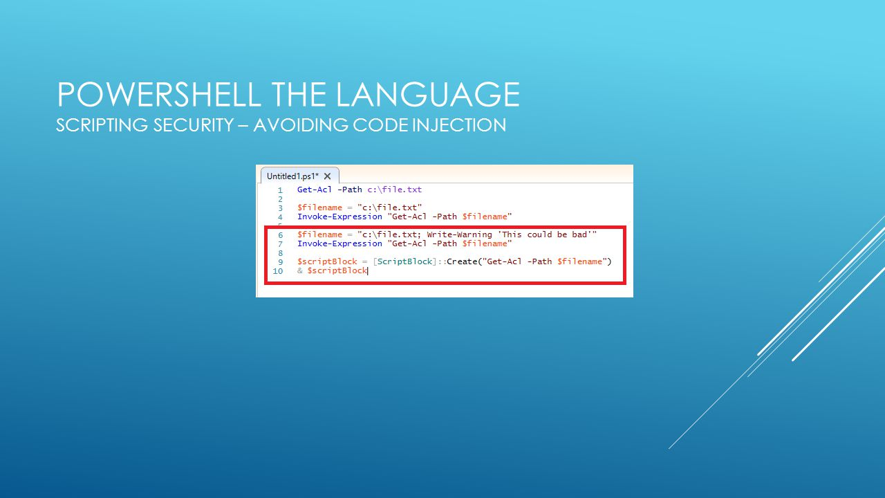 PowerShell the Language Scripting Security – Avoiding Code Injection