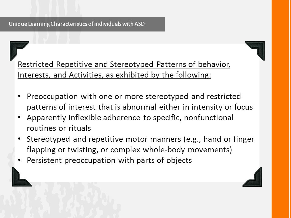 Persistent preoccupation with parts of objects