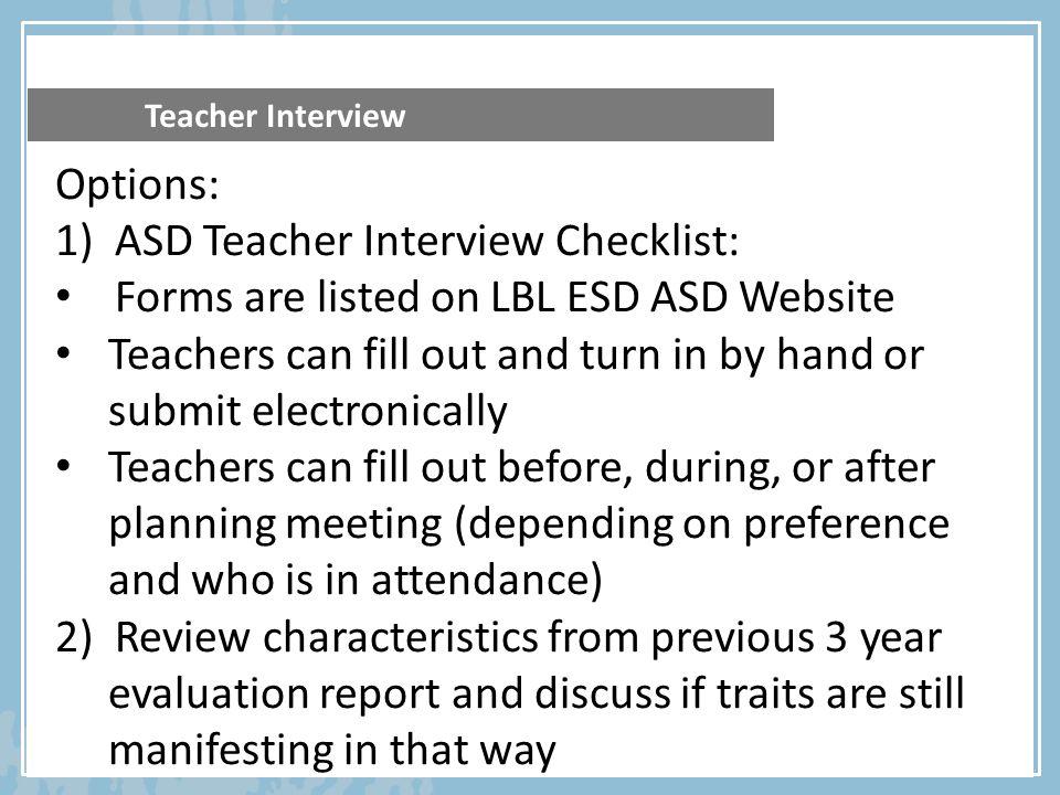 ASD Teacher Interview Checklist: