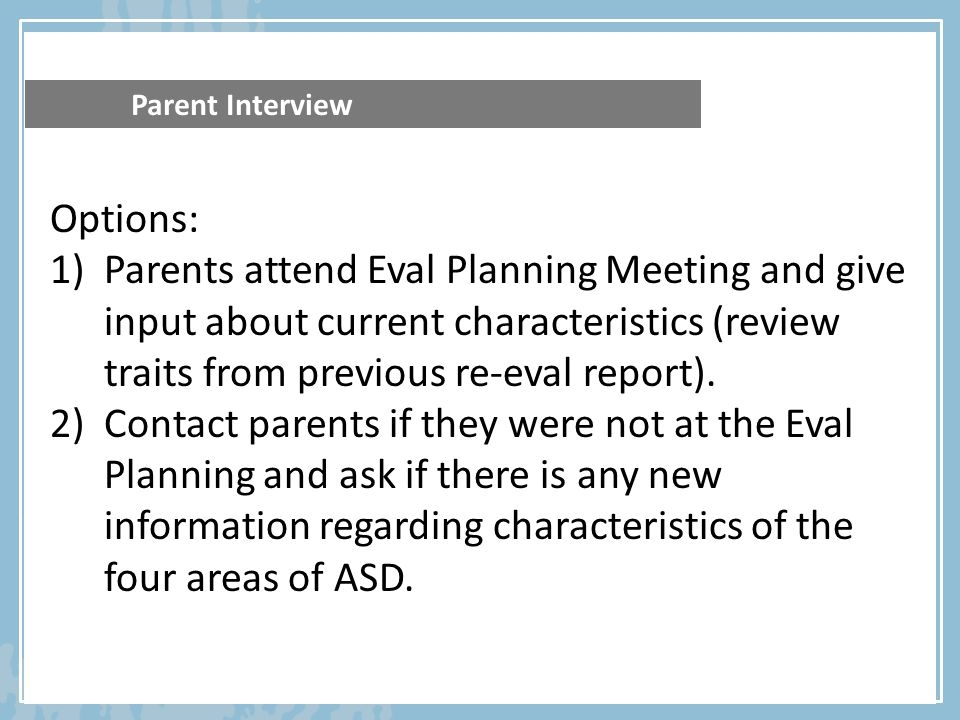 Parent Interview Options: