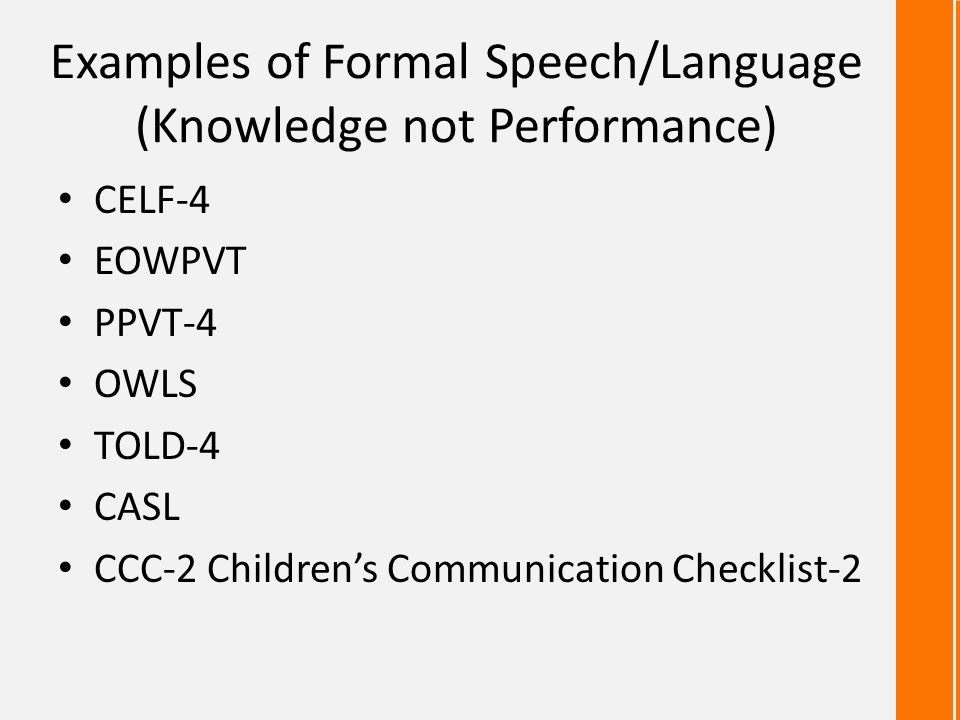 Examples of Formal Speech/Language (Knowledge not Performance)