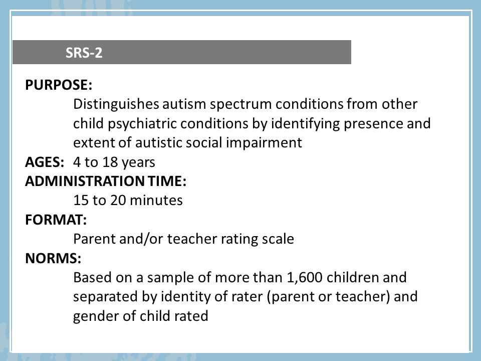 Parent and/or teacher rating scale NORMS: