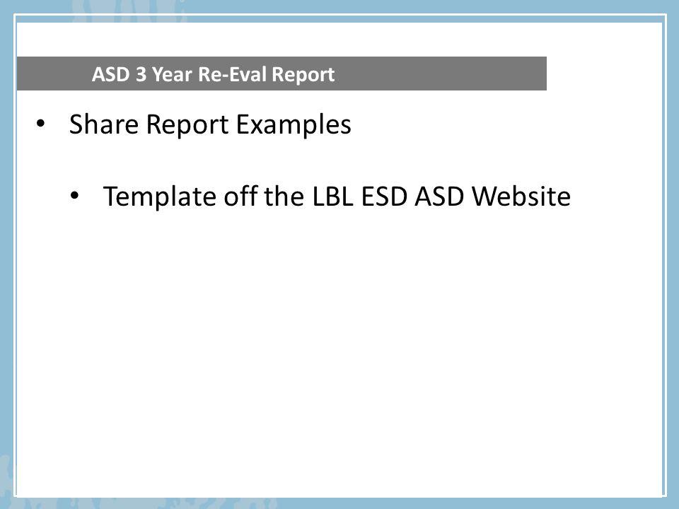 Template off the LBL ESD ASD Website