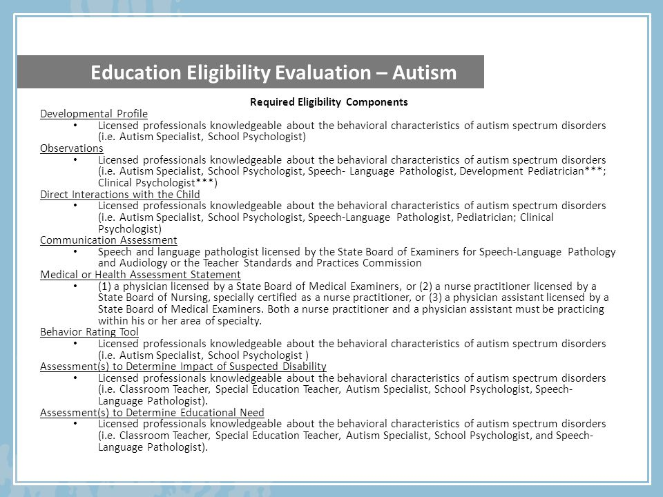 Required Eligibility Components