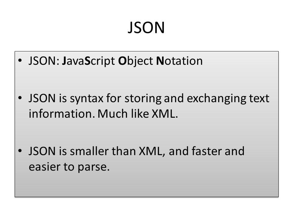 JSON JSON: JavaScript Object Notation