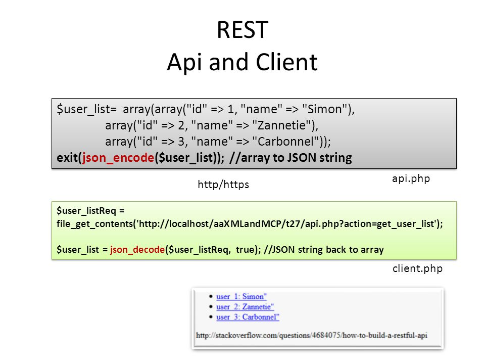 REST Api and Client $user_list= array(array( id => 1, name => Simon ), array( id => 2, name => Zannetie ),