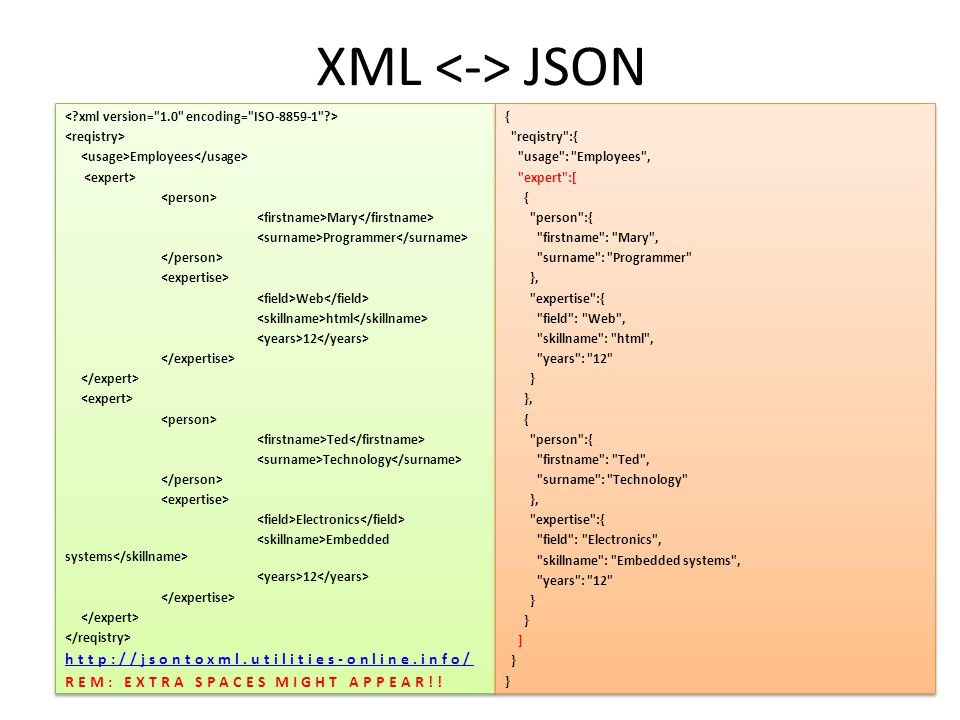 XML <-> JSON http://jsontoxml.utilities-online.info/