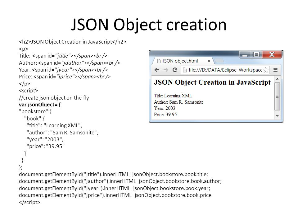 JSON Object creation <h2>JSON Object Creation in JavaScript</h2> <p> Title: <span id= jtitle ></span><br />