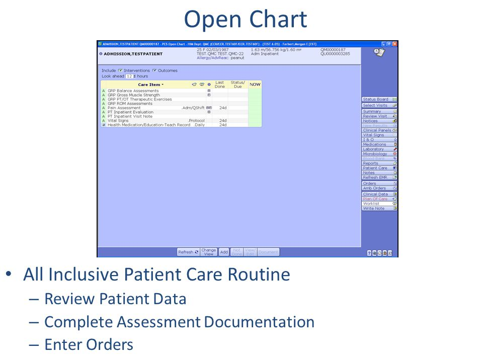 Open Chart All Inclusive Patient Care Routine Review Patient Data