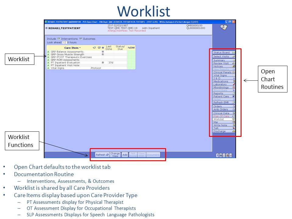 Worklist Worklist Open Chart Routines Worklist Functions
