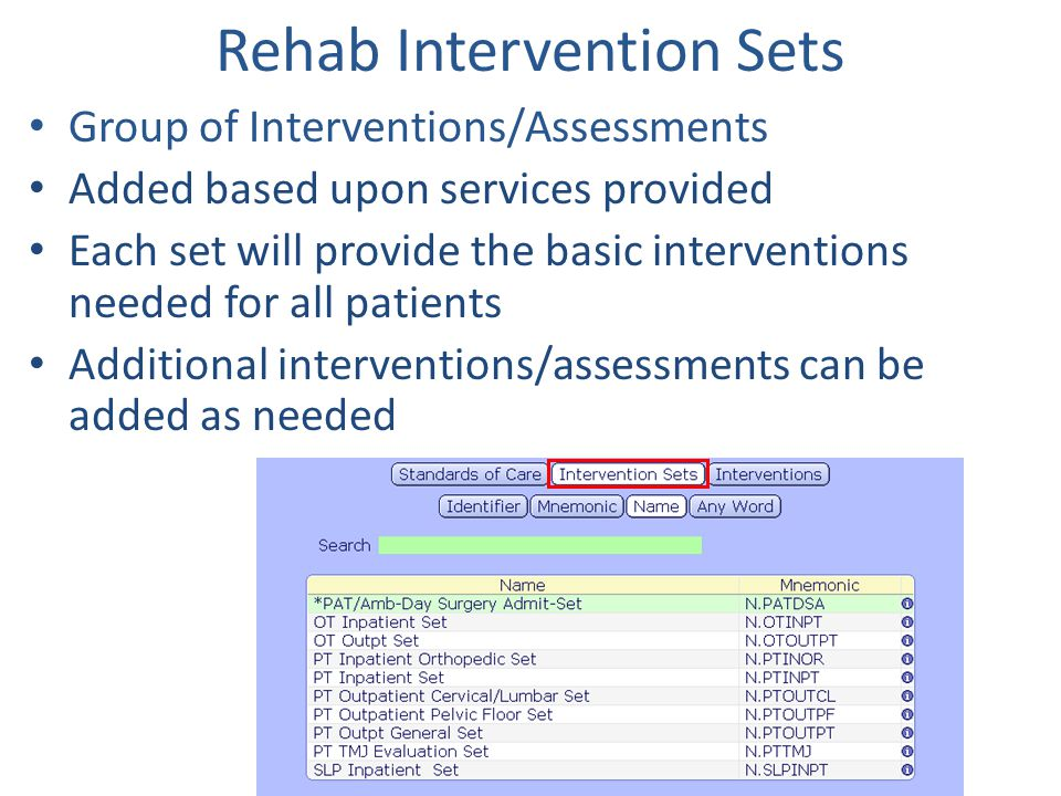 Rehab Intervention Sets