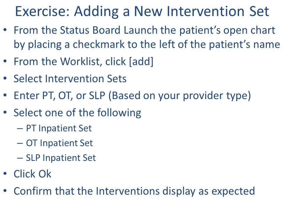 Exercise: Adding a New Intervention Set