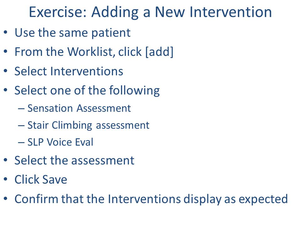 Exercise: Adding a New Intervention