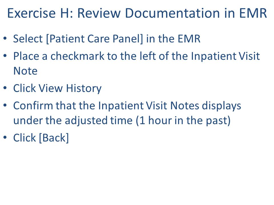 Exercise H: Review Documentation in EMR