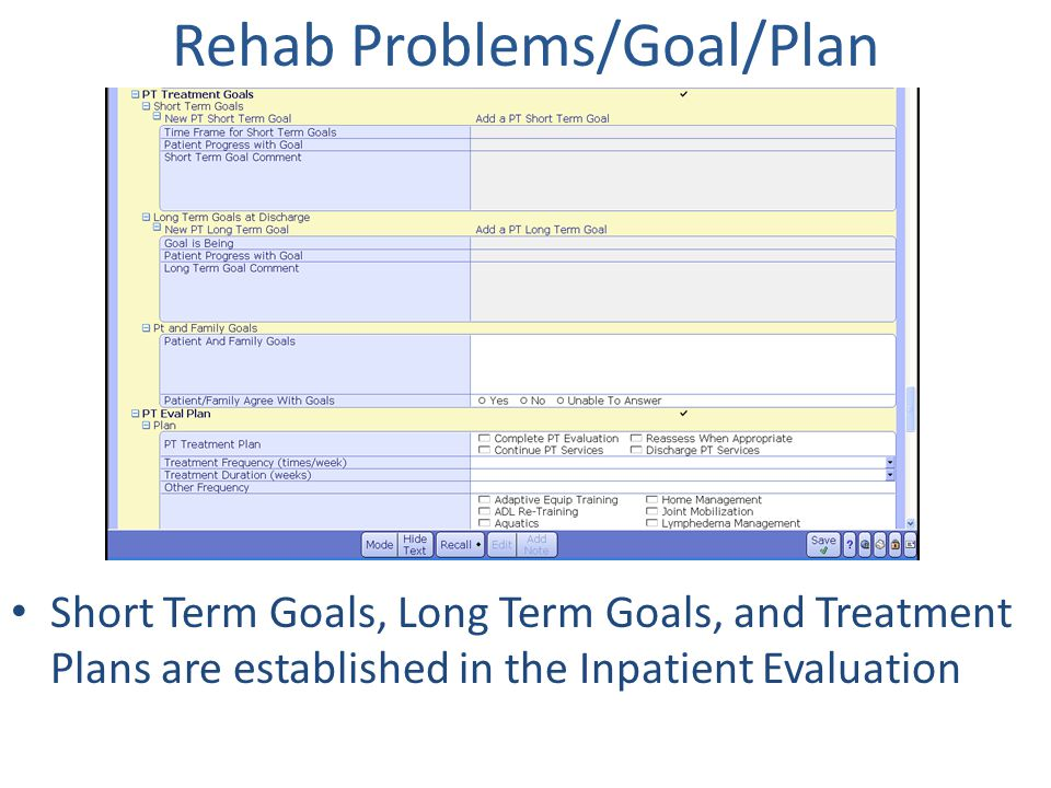 Rehab Problems/Goal/Plan