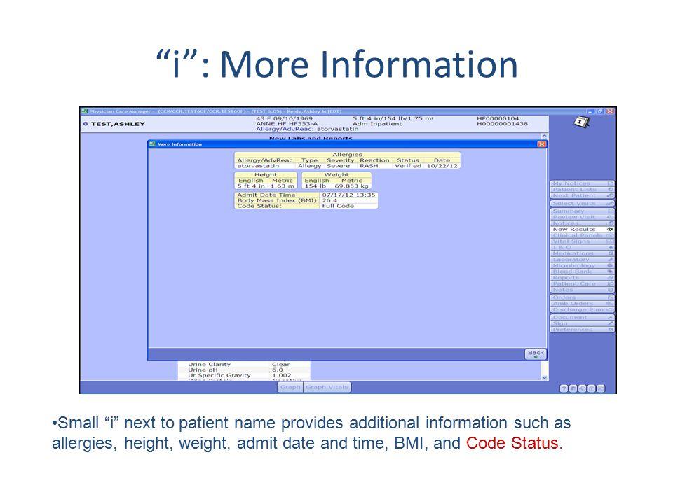 i : More Information