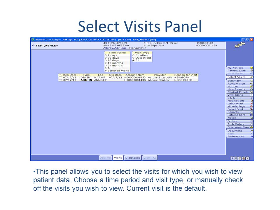 Select Visits Panel