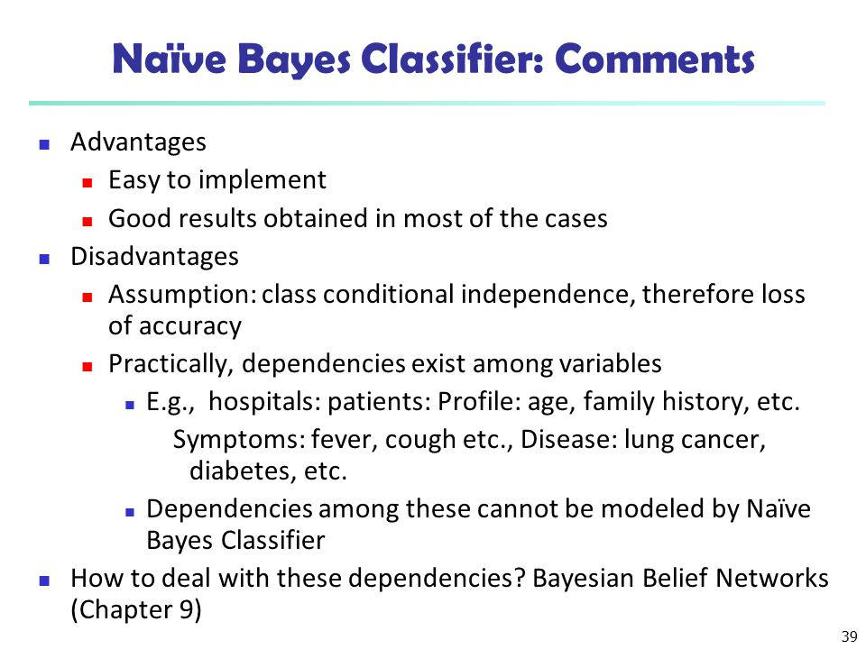 Naïve Bayes Classifier: Comments