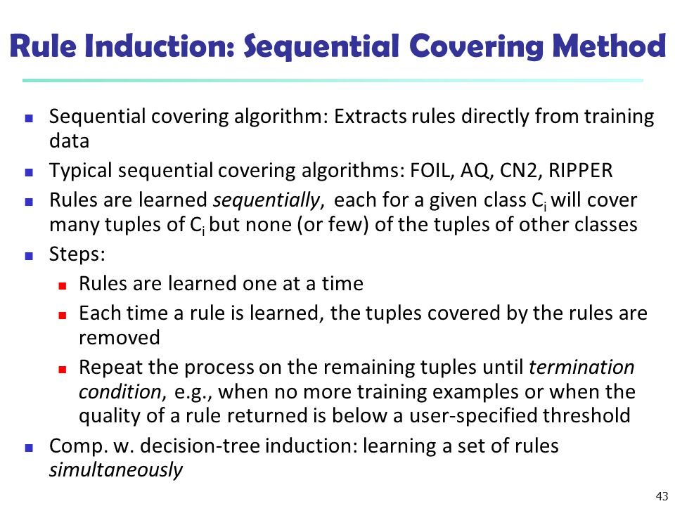 Rule Induction: Sequential Covering Method