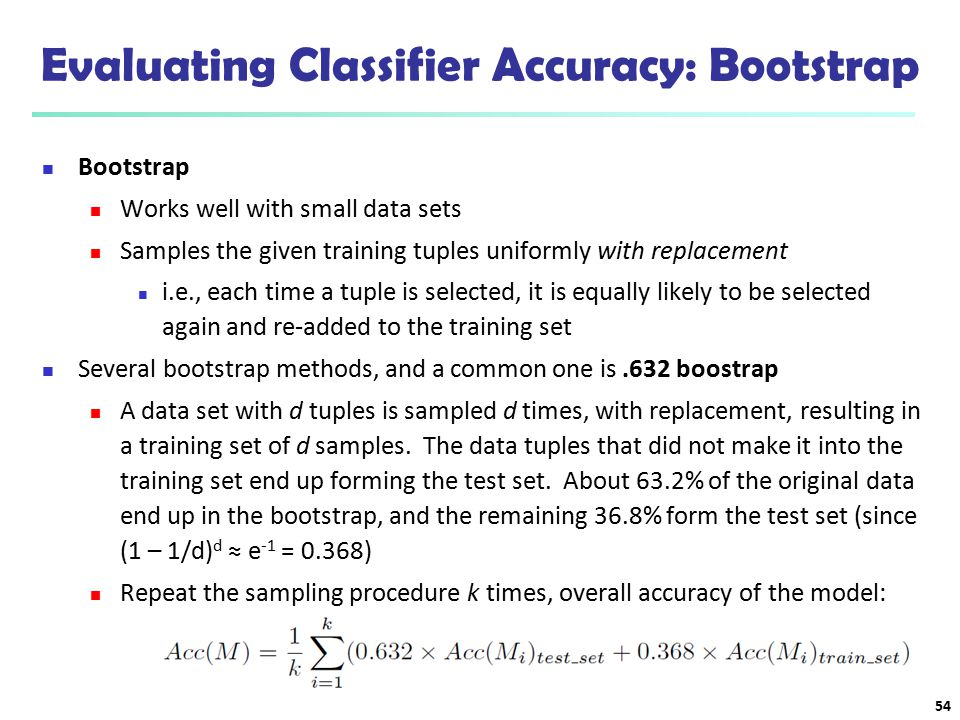 Evaluating Classifier Accuracy: Bootstrap