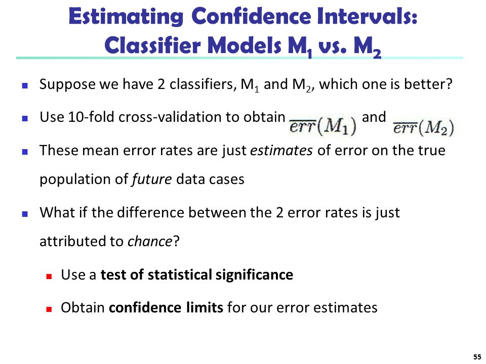 Estimating Confidence Intervals: Classifier Models M1 vs. M2