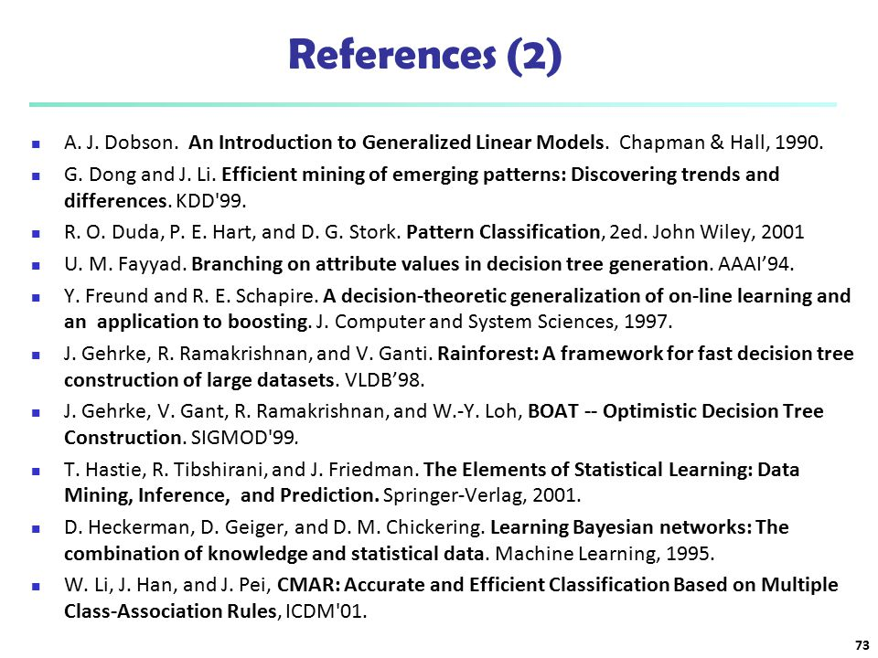 References (2) A. J. Dobson. An Introduction to Generalized Linear Models. Chapman & Hall, 1990.